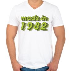 PRINTFASHION made-in-1982-green-grey - Férfi V-nyakú póló - Fehér