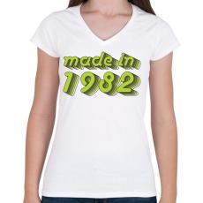 PRINTFASHION made-in-1982-green-grey - Női V-nyakú póló - Fehér