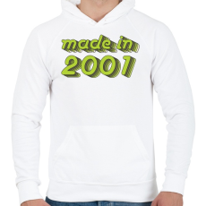 PRINTFASHION made-in-2001-green-grey - Férfi kapucnis pulóver - Fehér