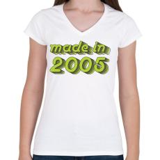 PRINTFASHION made-in-2005-green-grey - Női V-nyakú póló - Fehér