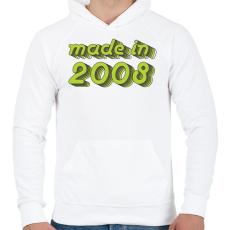 PRINTFASHION made-in-2008-green-grey - Férfi kapucnis pulóver - Fehér