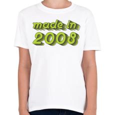 PRINTFASHION made-in-2008-green-grey - Gyerek póló - Fehér