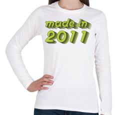 PRINTFASHION made-in-2011-green-grey - Női hosszú ujjú póló - Fehér