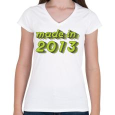 PRINTFASHION made-in-2013-green-grey - Női V-nyakú póló - Fehér