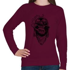 PRINTFASHION Majmok kora - Női pulóver - Bordó