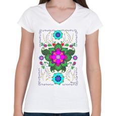 PRINTFASHION Mandala minta 1. - Női V-nyakú póló - Fehér