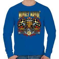 PRINTFASHION Mániákus majom - Férfi pulóver - Királykék