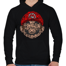 PRINTFASHION Mario - Férfi kapucnis pulóver - Fekete