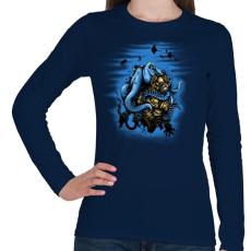 PRINTFASHION Mélytengeri szörny - Női hosszú ujjú póló - Sötétkék
