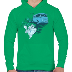 PRINTFASHION Menj horgászni - Férfi kapucnis pulóver - Zöld