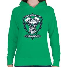 PRINTFASHION Mennydörgő motorok - Női kapucnis pulóver - Zöld