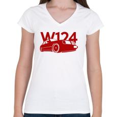 PRINTFASHION Mercedes w124 - Női V-nyakú póló - Fehér