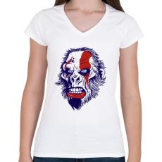 PRINTFASHION Mérges gorilla - Női V-nyakú póló - Fehér
