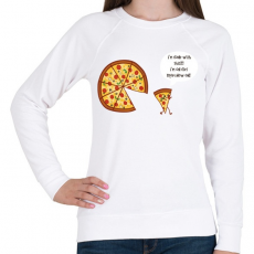 PRINTFASHION Mérges pizza - Női pulóver - Fehér