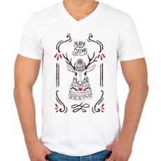 PRINTFASHION Merry Christmas Deer - Férfi V-nyakú póló - Fehér