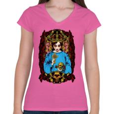 PRINTFASHION Mexikói - Női V-nyakú póló - Rózsaszín