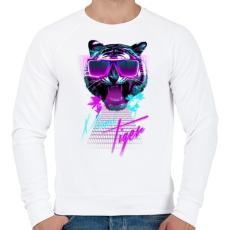 PRINTFASHION Miami tiger - Férfi pulóver - Fehér