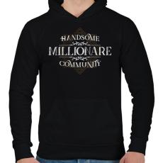 PRINTFASHION Millionare - Férfi kapucnis pulóver - Fekete