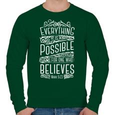 PRINTFASHION Minden lehetséges - Férfi pulóver - Sötétzöld