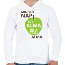 PRINTFASHION minden-nap-egy-alma-brown-green - Férfi kapucnis pulóver - Fehér