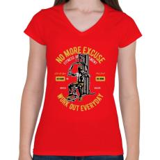 PRINTFASHION Mindennapi edzés - Női V-nyakú póló - Piros