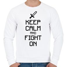 PRINTFASHION Minecraft - Csak nyugi és harcolj! - Férfi pulóver - Fehér