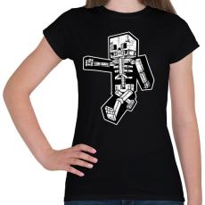 PRINTFASHION Minecraft csontváz - Női póló - Fekete
