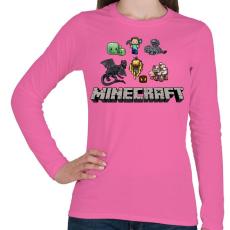 PRINTFASHION Minecraft - Női hosszú ujjú póló - Rózsaszín