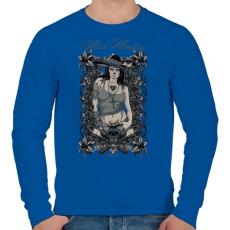 PRINTFASHION Miss macséta - Férfi pulóver - Királykék