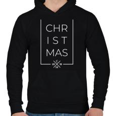 PRINTFASHION Modern karácsony 2018 - Férfi kapucnis pulóver - Fekete