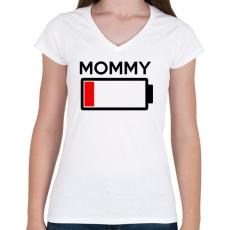 PRINTFASHION MOMMY - Női V-nyakú póló - Fehér