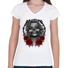 PRINTFASHION Monroses Skull - Női V-nyakú póló - Fehér
