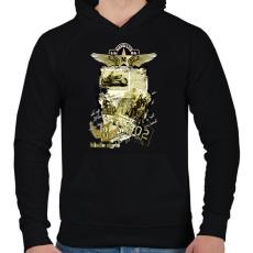 PRINTFASHION MOTOCLUB - Férfi kapucnis pulóver - Fekete