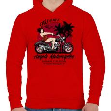 PRINTFASHION Motoros angyal - Férfi kapucnis pulóver - Piros