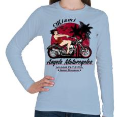 PRINTFASHION Motoros angyal - Női hosszú ujjú póló - Világoskék