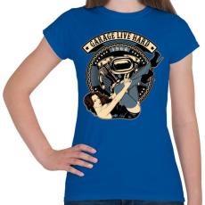 PRINTFASHION Motoros gyorsgarázs - Női póló - Királykék