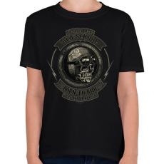 PRINTFASHION Motoros koponya - Gyerek póló - Fekete