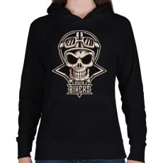 PRINTFASHION Motoros koponya - Női kapucnis pulóver - Fekete
