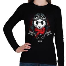 PRINTFASHION Motoros panda - Női hosszú ujjú póló - Fekete