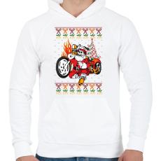 PRINTFASHION Motoros Télapó - Férfi kapucnis pulóver - Fehér
