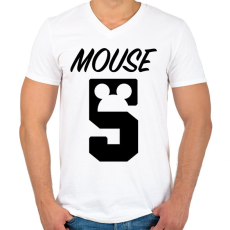 PRINTFASHION Mouse 5 - Férfi V-nyakú póló - Fehér