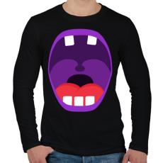 PRINTFASHION Mouth - Férfi hosszú ujjú póló - Fekete