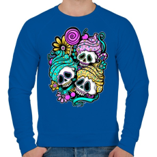 PRINTFASHION Muffin koponyák - Férfi pulóver - Királykék