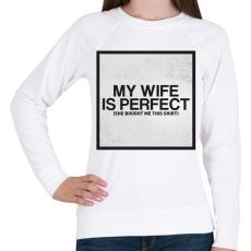 PRINTFASHION My wife - Női pulóver - Fehér