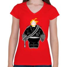 PRINTFASHION Nagy szellem - Női V-nyakú póló - Piros