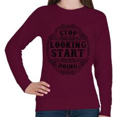 PRINTFASHION Ne nézd, csináld  - Női pulóver - Bordó