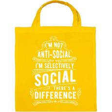 PRINTFASHION Nem vagyok antiszociális - Vászontáska - Sárga