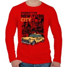 PRINTFASHION New York City - Férfi hosszú ujjú póló - Piros