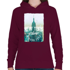 PRINTFASHION New York mindig jó ötlet - Női kapucnis pulóver - Bordó