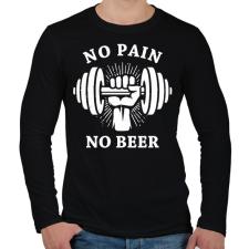 PRINTFASHION Nincs fájdalom, nincs sör - Férfi hosszú ujjú póló - Fekete férfi póló